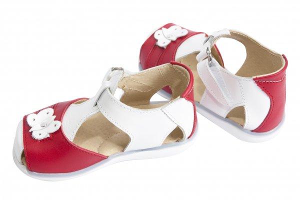 Sandalute fete piele 574 alb rosu 18-25