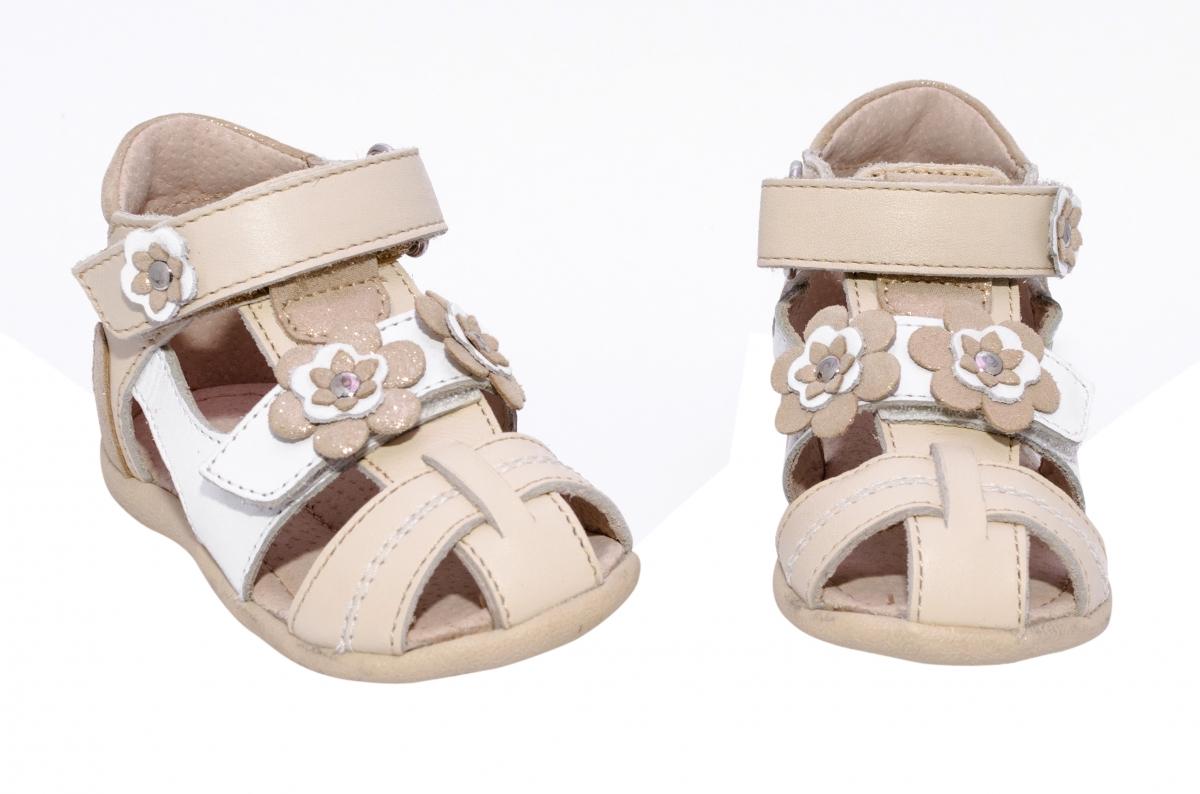 Sandalute fete piele naturala hokide 405 bej alb 18-25