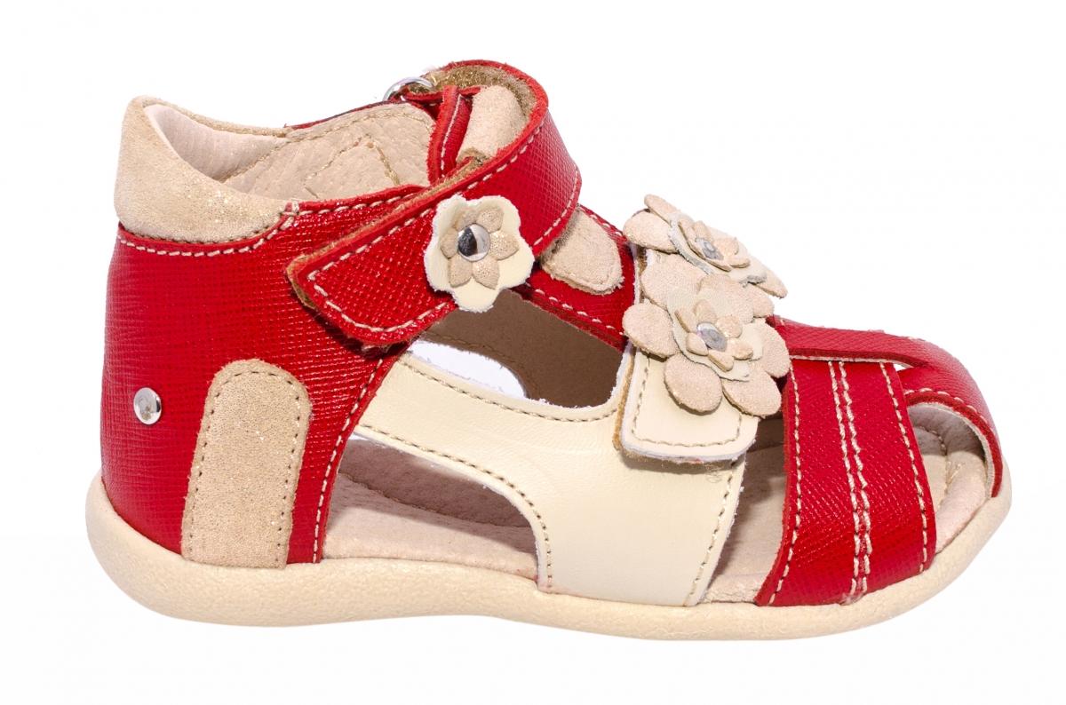 Sandalute fete piele naturala hokide 405 rosu bej 18-25