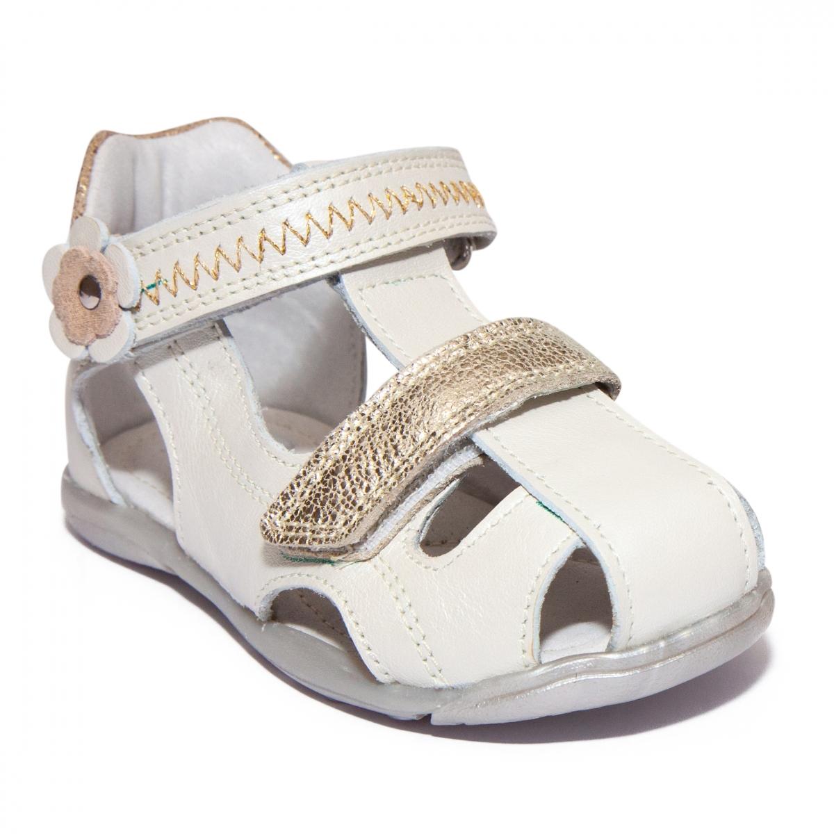 Sandalute fete pj shoes Mario alb auriu 18-26