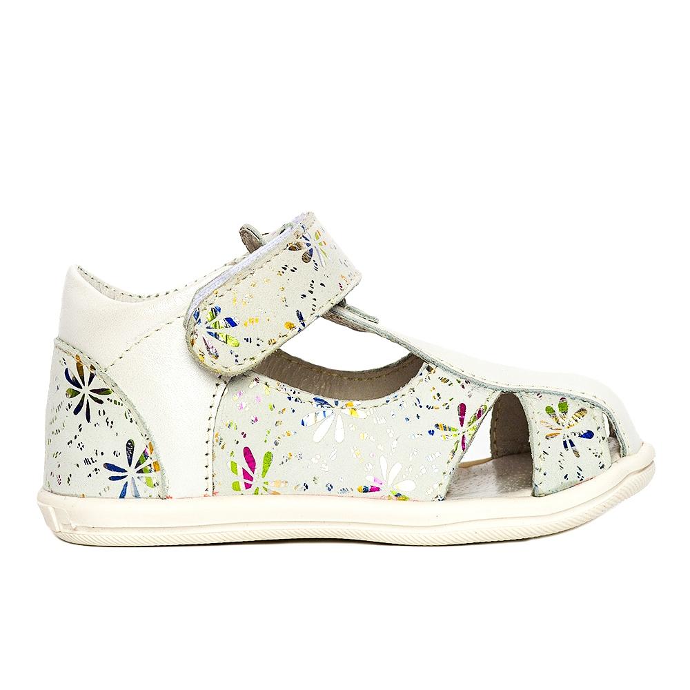 Sandalute fete pj shoes Pablo alb flori 18-26