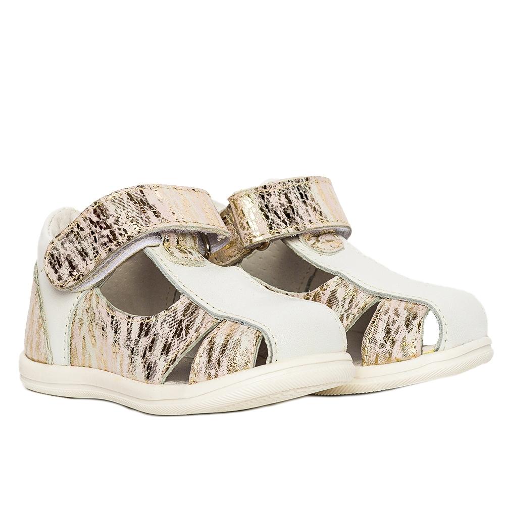 Sandalute fete pj shoes Pablo alb print 18-26