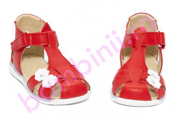 Sandalute fetite elegante 346 rosu alb 18-25