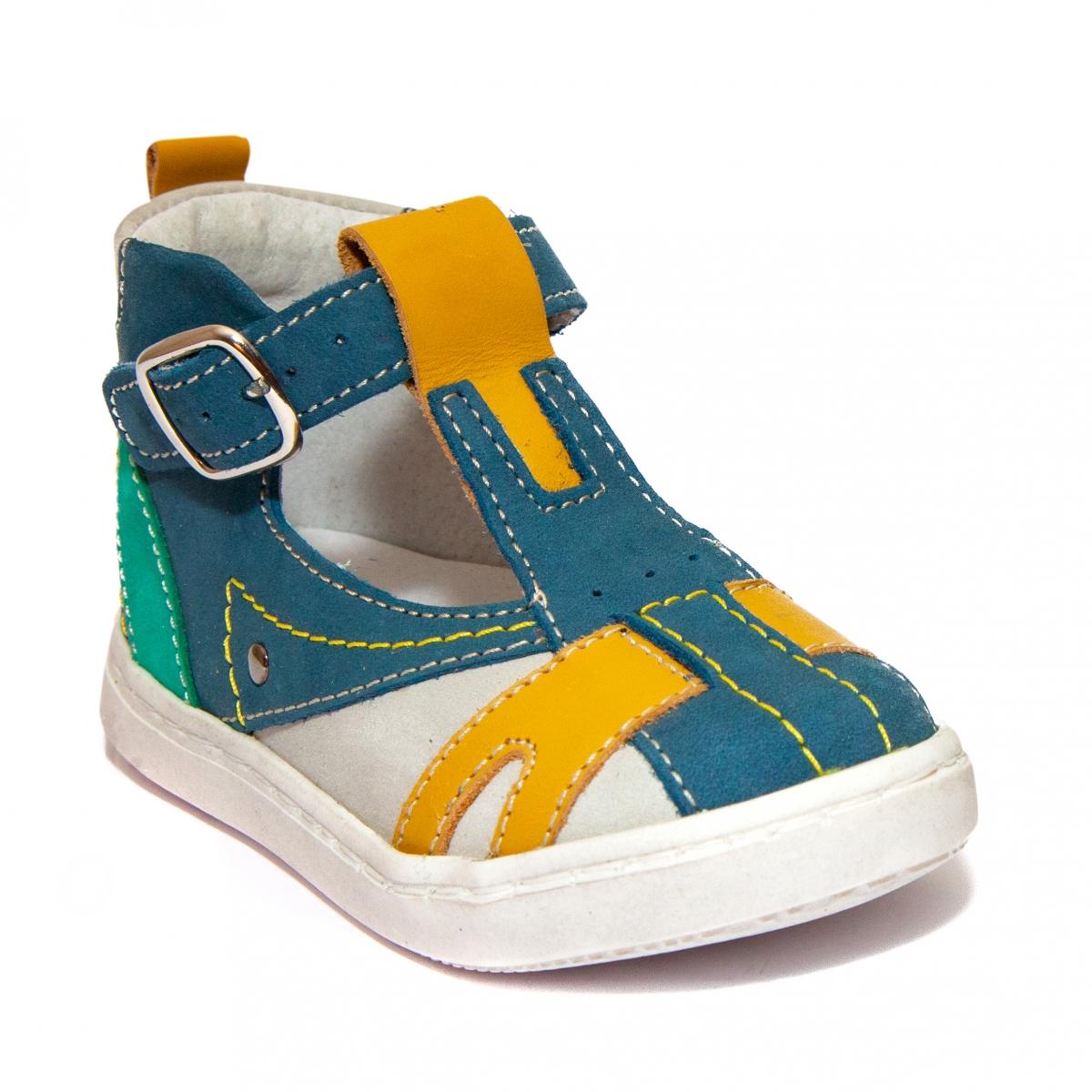Sandalute ortopedice baieti hokide 306 albastru galben verde 18-25