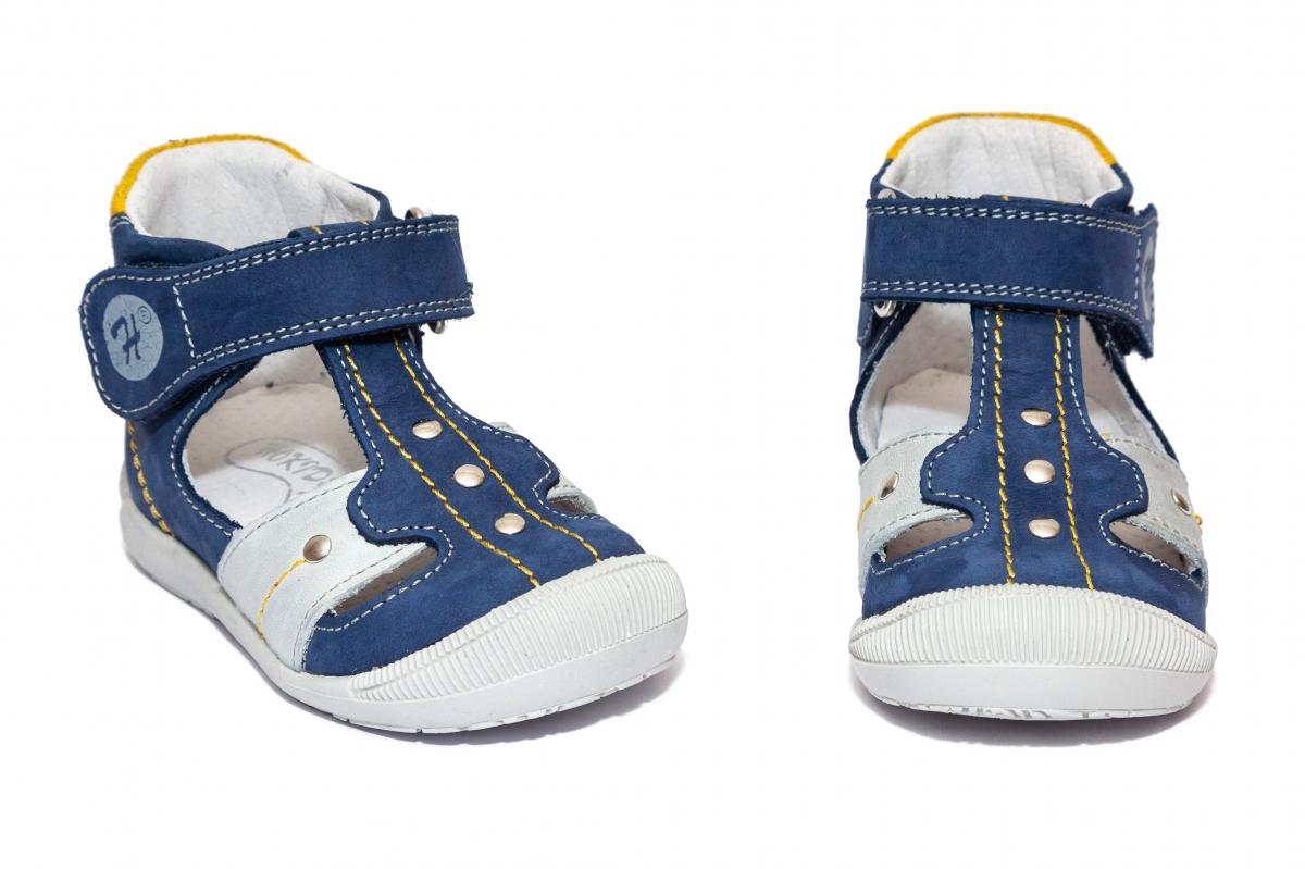 Sandalute ortopedice copii 273 albastru galben gri 18-24