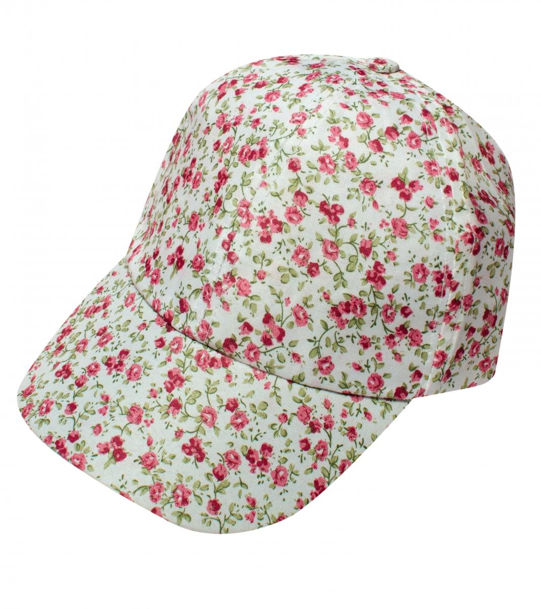Sapca fete 2561 alb flori roz 44-52