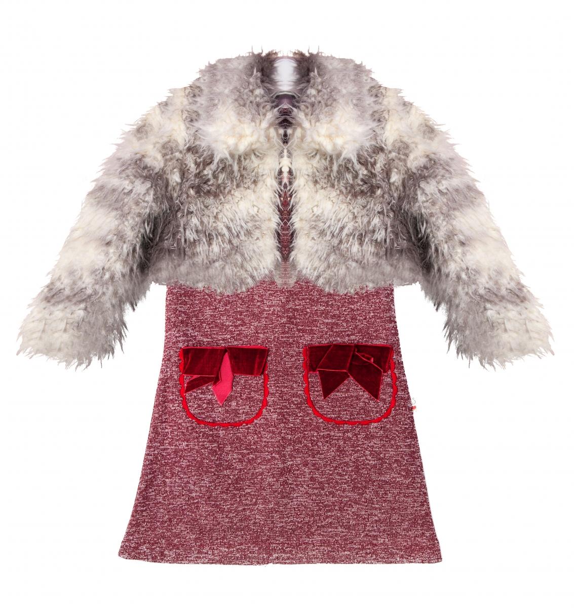 Set rochita fete cu blanita 2551 rosu gri 2-7ani