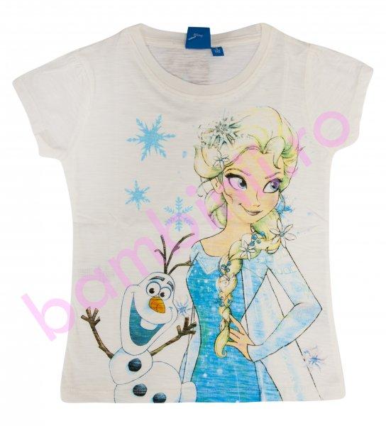Tricou fete Elsa si omul de zapada 9328 alb 98-134