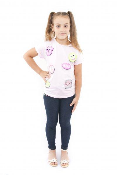 Tricouri fete kiss 7521 roz 128-164cm