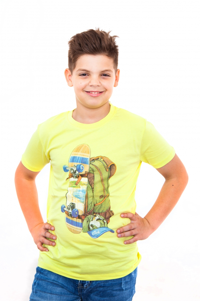 Tricouri baieti cu maneca scurta 1701 galben 110-140cm
