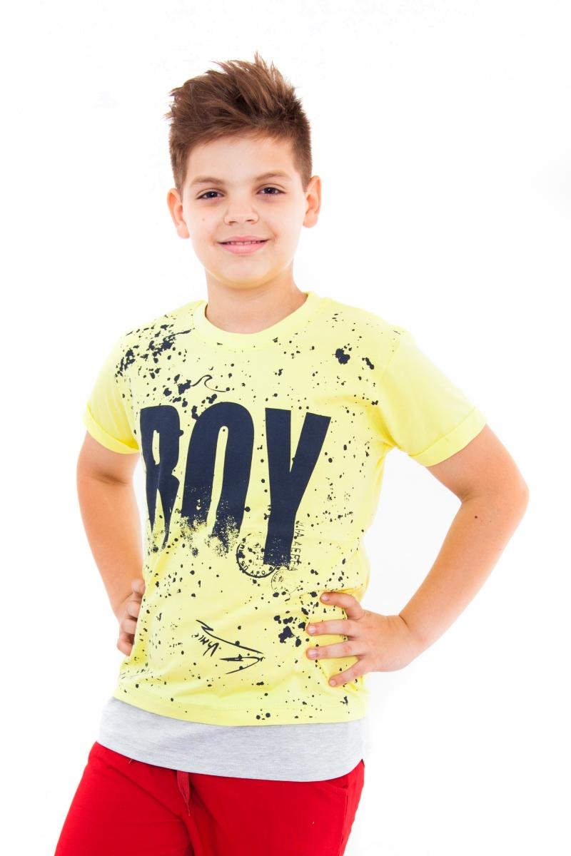 Tricouri baieti cu maneca scurta 763 galben 128-164cm