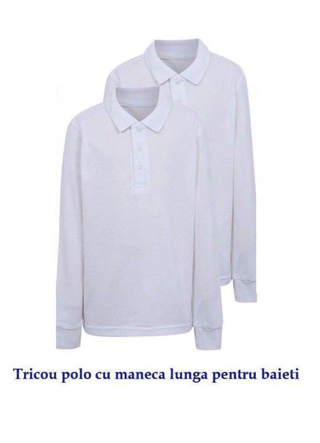 Tricouri baieti si fete polo cu maneca lunga 329 alb 4-14ani