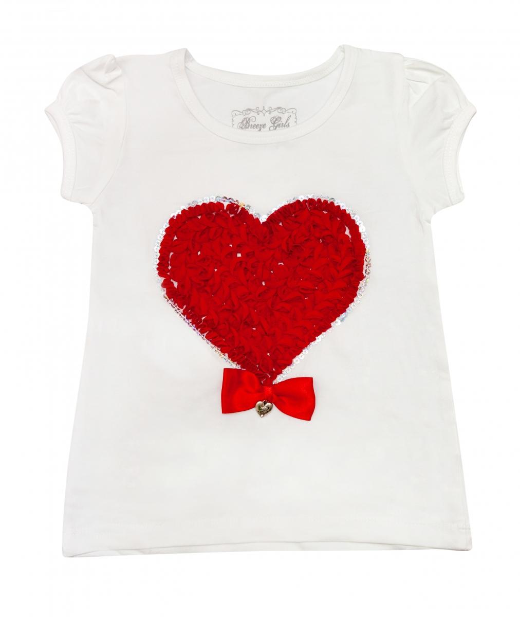 Tricouri fete breeze 1704 alb rosu 98-134cm