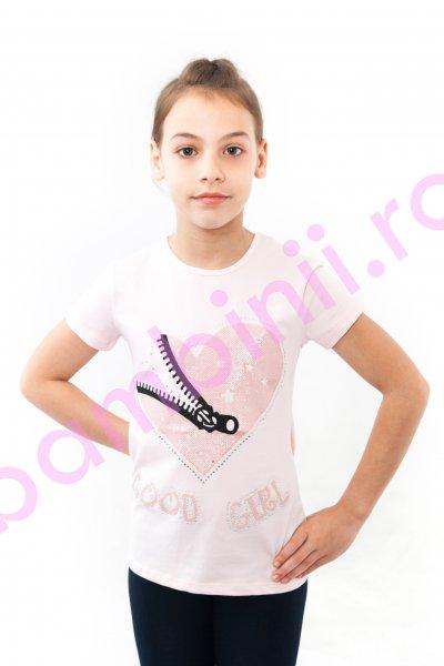 Tricouri fete breeze 8960 roz pal 128-164cm