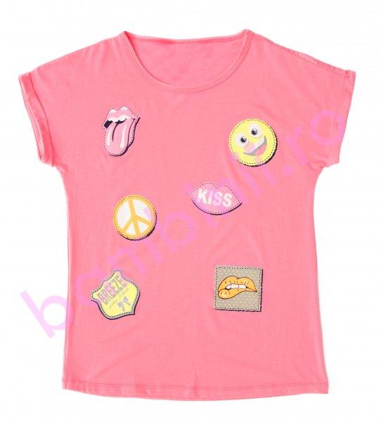 Tricouri fete kiss 7521 fuxia 128-164cm