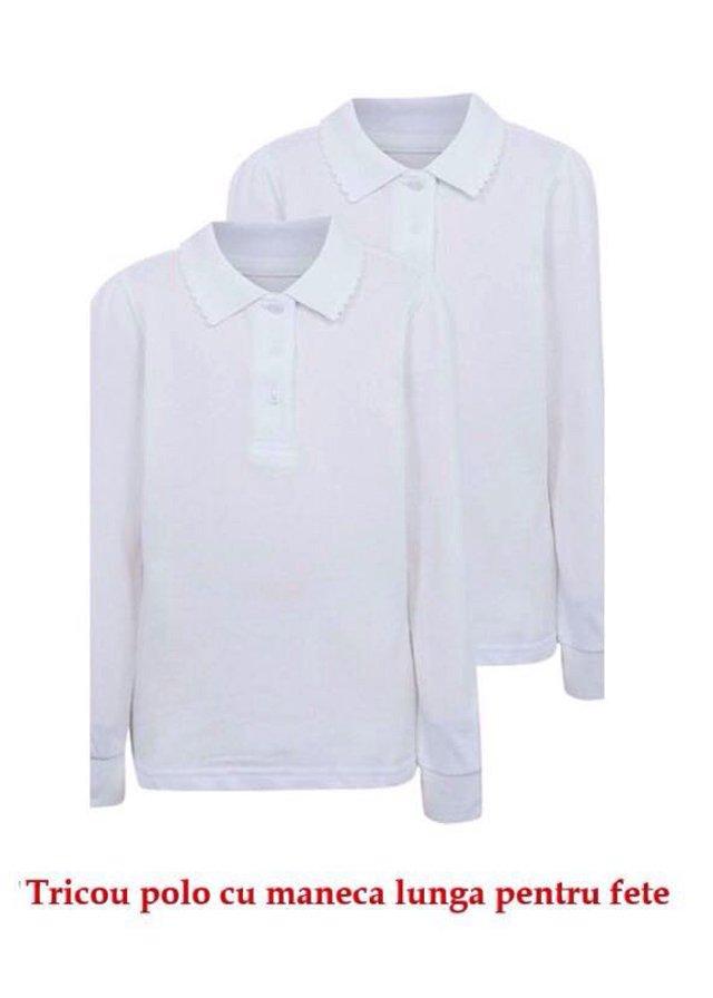 Tricouri fete polo cu maneca lunga 329 alb 4-14ani
