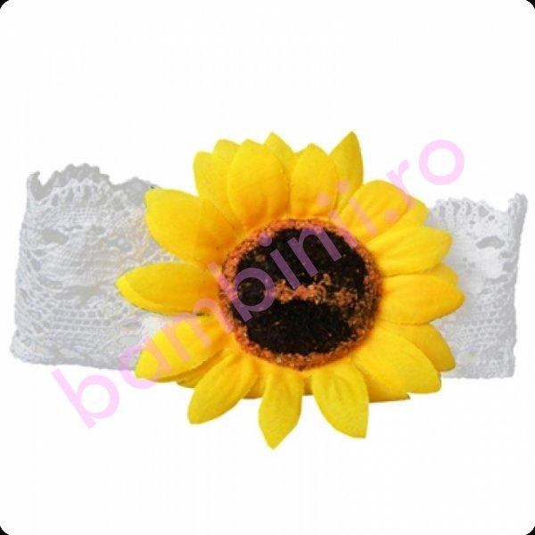 Bentita fete floarea soarelui 26 alb 44-50cm