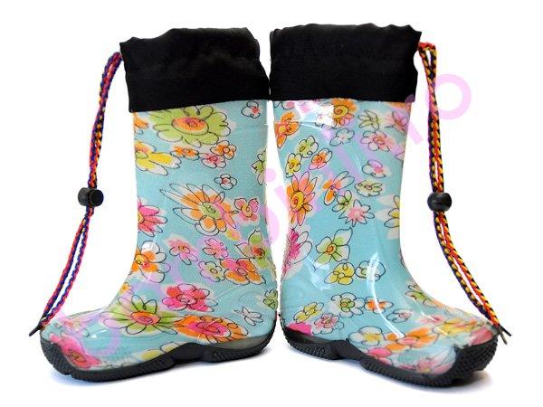 Cizme cauciuc copii 6 blue-flori roz
