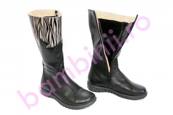 Cizme copii imblanite de iarna 677 negru zebra 26-36