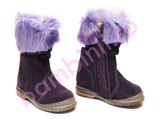 Cizme fete Pj Shoes Lili mov franjuri