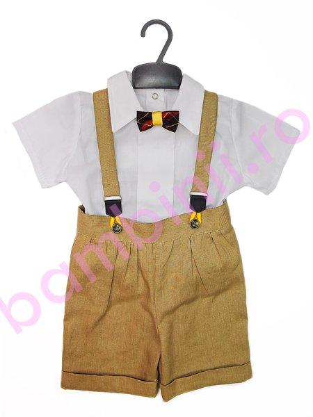 Costum baieti 1102 pantaloni mustar si camasa alba 68 cm - 86 cm