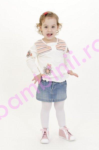 Ghete copii perforate 586 alb+roz