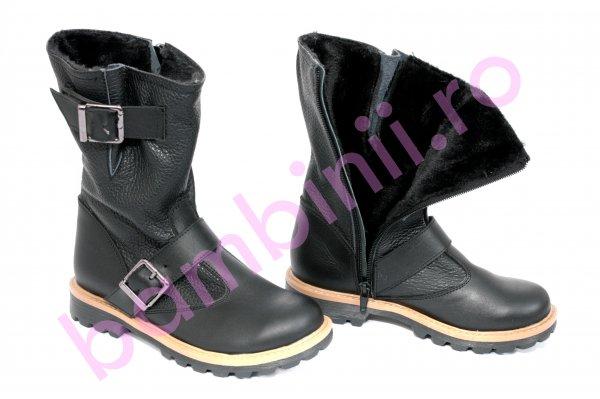 Pantofi 2018 pe focuri de picioare aspect detaliat Cizme copii imblanite de iarna 742 negru. Incaltaminte din piele ...