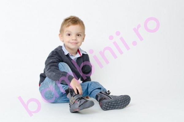 Ghete copii cu blana pj shoes Roma negru 24-36
