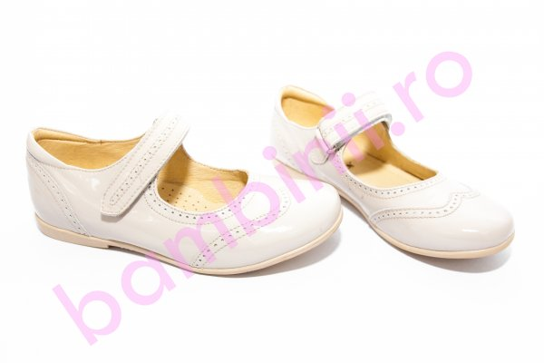 Pantofi balerini copii piele 420 bej lac