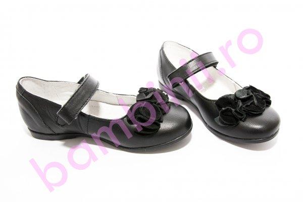 Pantofi balerini copii hokide 272 negru floare bareta 26-36