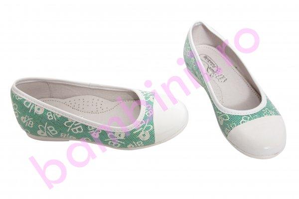 Pantofi balerini fete hokide 330 alb verde