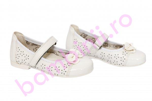 Pantofi copii piele 2090 alb perforat 22-30