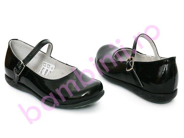 Pantofi copii piele 259 negru lac