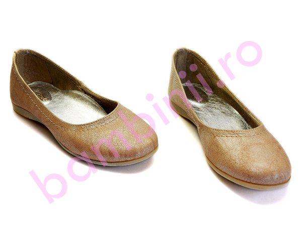 Pantofi copii piele avus 33 bej-auriu