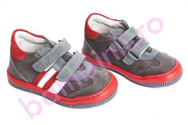 Pantofi copii pj shoes Costa gri rosu 20-26