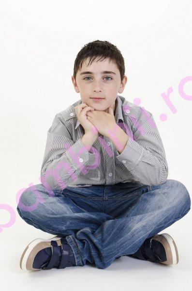Pantofi copii piele Salvatore blu+bej