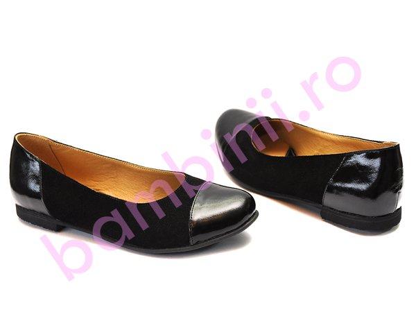 Pantofi femei din piele intoarsa cu lac 45 negru 34-41