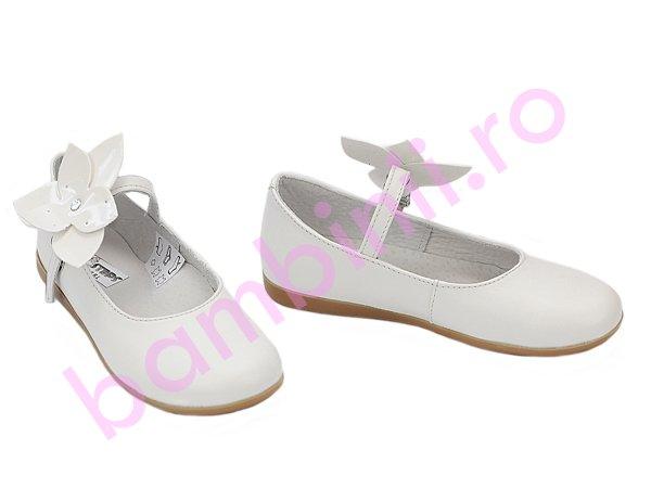 Pantofi fete din piele 259 alb new