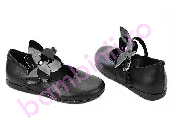 Pantofi fete din piele 259 negru new