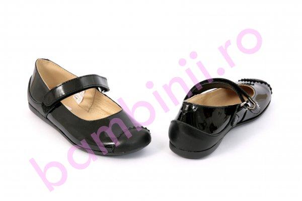 Pantofi fete piele 721 negru+lac