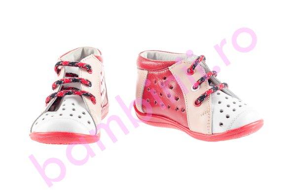 Pantofi copii perforati 644 alb-roz