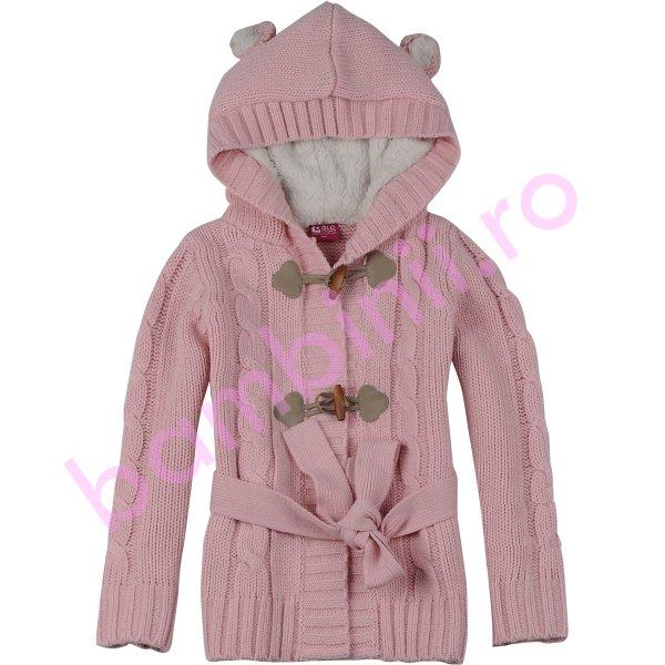 Pulovere fete cu gluga cu blana 3945 pink