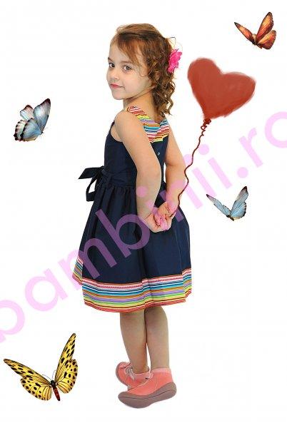 Rochie fete 1255 blumarin cu dungi multicolore