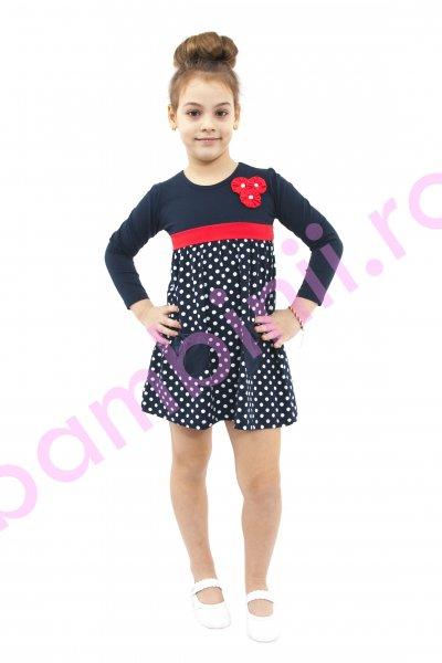 Rochie fete 364 albastru rosu 98-122cm