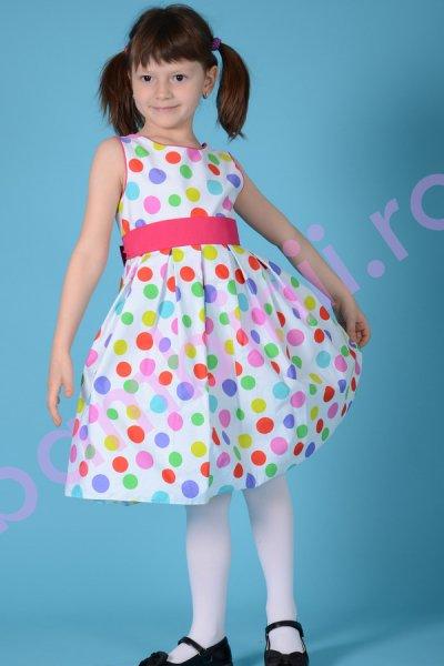 Rochie fete alba cu buline multicolore 1306