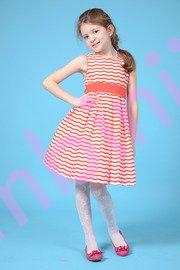 Rochie fete alba cu dungi rosii 1310