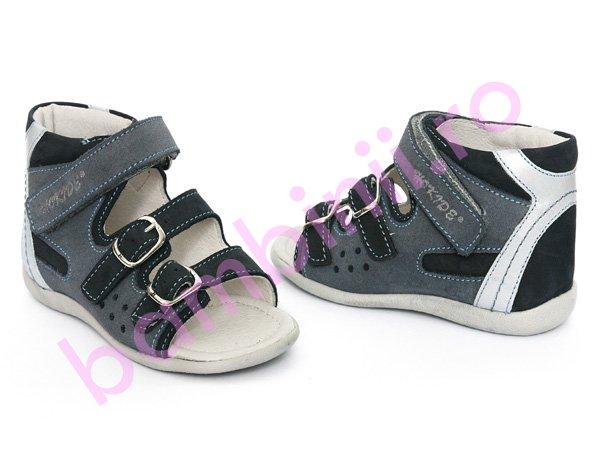 Sandale piele copii hokide 255 blu+gri
