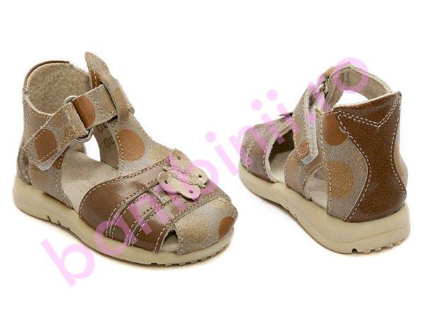 Sandale copii piele 574 maro-auriu