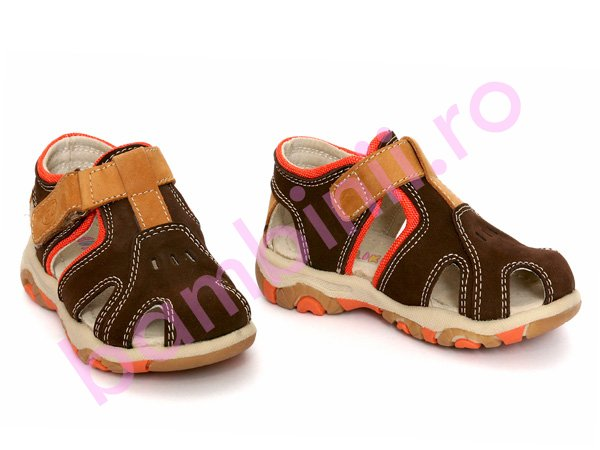 Sandale piele copii 102 maro+port