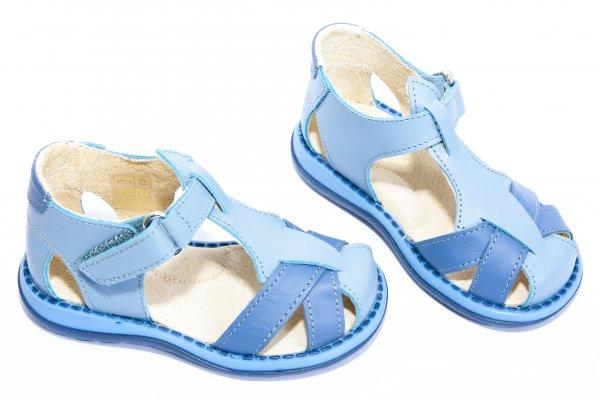 Sandale copii piele 346 gri blu 18-25